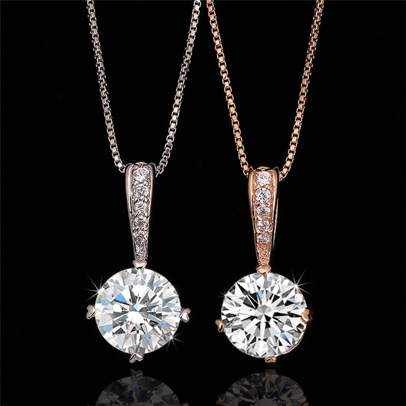 ROXI Cubic Zirconia Chain Necklaces & Pendants Rose Gold Color Fashion Crystal Necklace Wedding Jewelry For Women ketting 3
