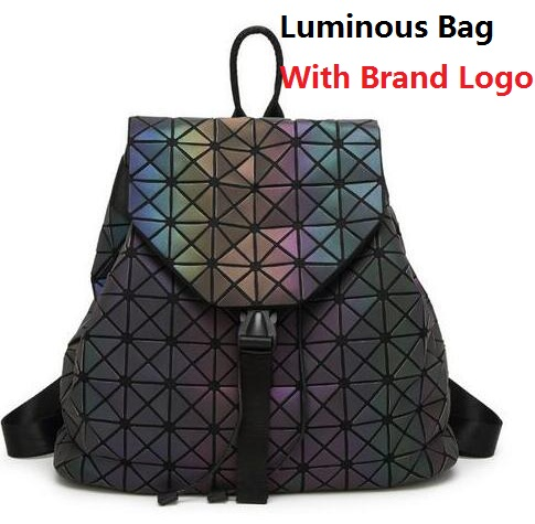 2017 women s backpack Geometric Shoulder Bag Student s School Bag Hologram Luminous backpack Laser silver
