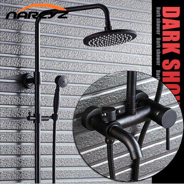Conjunto de chuveiro de bronze com chuveiro de cobre cheio preto Americano chuva chuveiro conjunto de banheiro retrô XT307