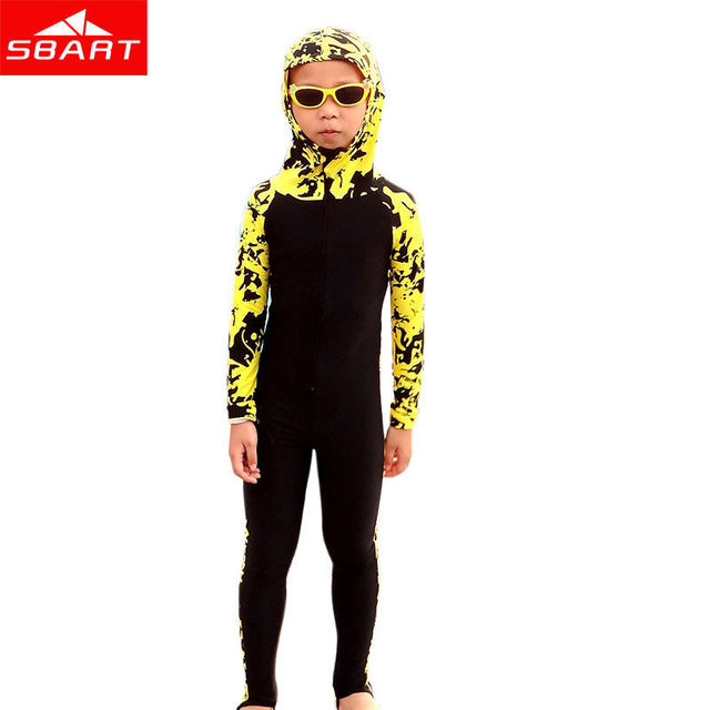 SBART 2018 Kids Wetsuits Long Sleeve Hooded Floral Diving Wetsuits Children Full Body Swimwear Lycra Surfing Diving Wetsuits New