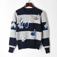 2017 Autumn Panelled Patchwork Stripe Pattern Embroidered Flower Butterfly Knitwear Jumper All Matched Sweater Women S