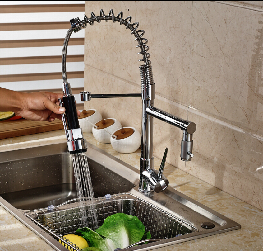 ФОТО Brand NEW Spring Kitchen Faucet Chrome Brass Vanity Vessel Sink Mixer Tap Single Handle Hole Deck Mounted