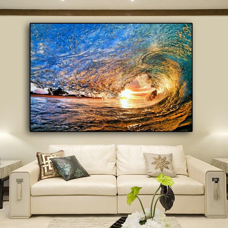 RELIABLI KUNST Leinwand Malerei Cuadros Ozean Sunset Welle Poster Und Drucke Moderne Bilder Für Wohnzimmer Kein Rahmen