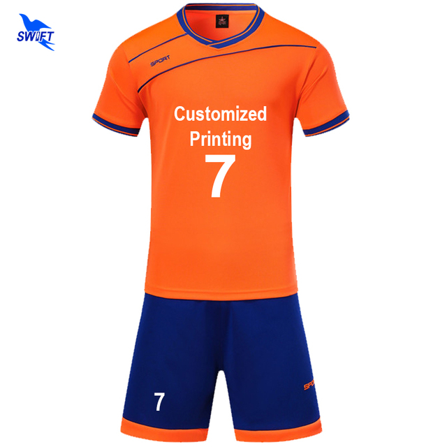 53adb8886 2018 New Mens Boys Soccer Jerseys Set Kids Football Kits Children Futbol  Training Suit Breathable Futsal Uniforms Custom Print