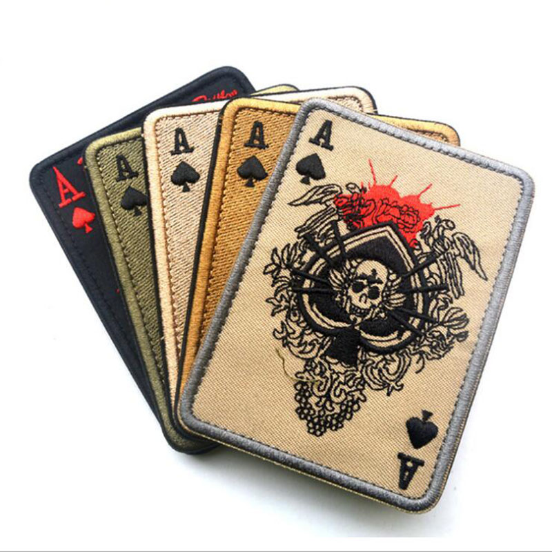 Arts,crafts & Sewing Tad Death Card Rectangular Badge Embroidery Poker Tactical Badges Hook And Loop Military Morale Armband Army Combat Badge Special Summer Sale Badges