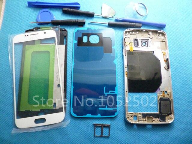 Двойной Карточки Для Samsung Galaxy S6 G9200 G920F Полный Дело Корпус Ближний Рамка + Крышка Батареи Оригинал + Передняя Экран Стеклянный Объектив + Инструменты