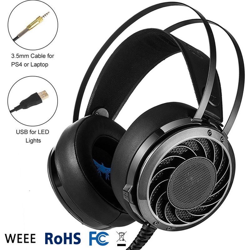 3.5mm Gaming Headset Over Ear Stereo Bass Headphone w/ Mic LED Light Microphone Hifi for PC iPhone iPod PS4 Xbox One M160 2016 pc780 over ear hifi stereo gaming headset earphone stereo bass led light headband headphone with mic for pc gamers