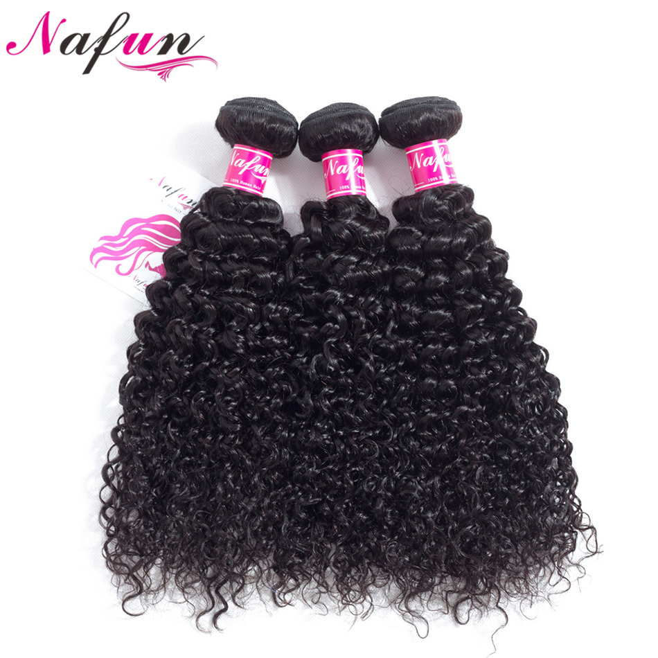 NAFUN Hair Kinky Curly Hair Peruvian Weave Bundles Human Hair Natural Color Bundles Non Remy Hair Extension Free Shipping