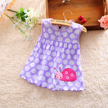 Newborn Baby Girl Dress Heart Miraculous Ladybug Whale Purple Yellow Blue Sleeveless Infant Dress for Summer(China)