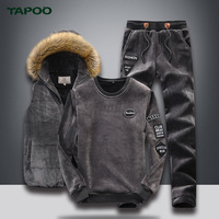 TAPOO Winter Men's Suits Men's Sets Casual Slim Vest Jackets Mens leisure three suit winter warm Hoodies Pants Suit With 4XL