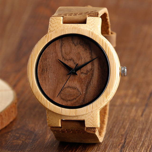 Creative Bamboo Nature Wood Quartz Wrist Watch Men Women Genuine Leather Band Fashion Strap Simple Modern Wristwatch Gift