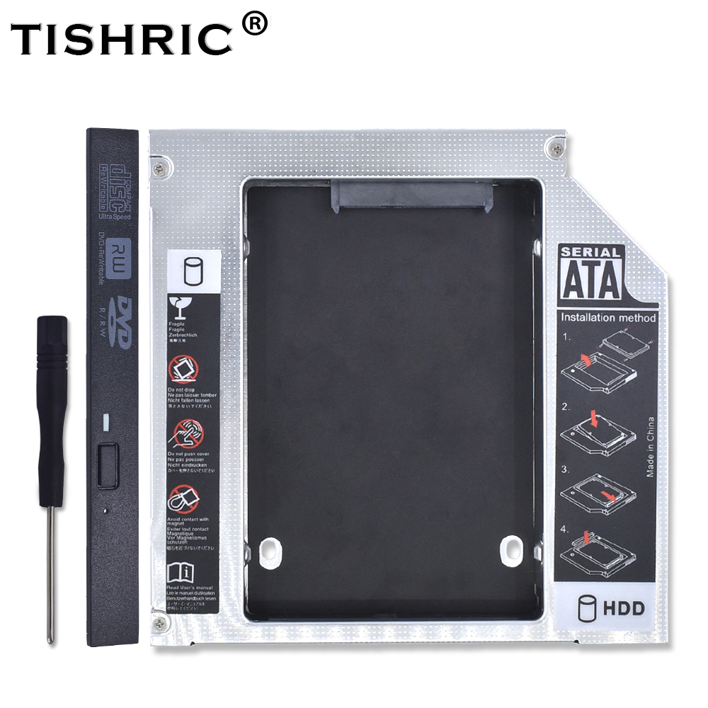 TISHRIC Aluminum 2nd HDD Caddy 12.7mm IDE To SATA 3.0 Adapter For 2.5