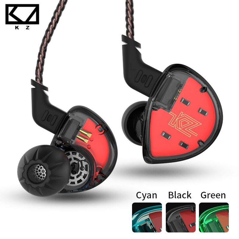 KZ ES4 In Ear Monitors Armature And Dynamic Hybrid Headset Ear Earphone Earbuds HiFi Bass Noise Cancelling Ear Hooks Headphones
