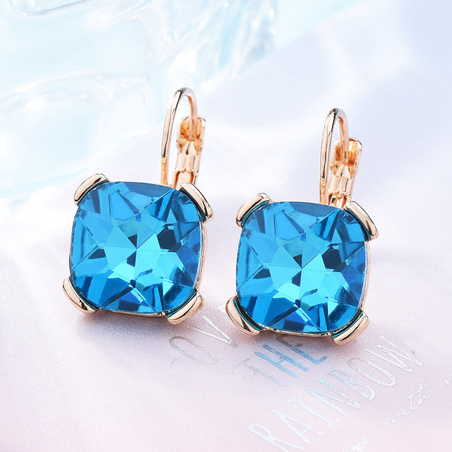 Fashion Geometric Square Drop Earrings Blue White Green Red Purple Gray  Austrian Crystal Earring For Women Wedding Jewelry 34b0887c1bd7
