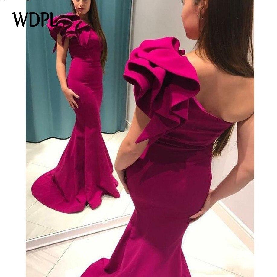 robe de soiree Mermaid   Evening     Dresses   Ruffles Pleats abiye gece elbisesi Fuchsia   Evening   Gowns Formal   Dress   Elegant Candy Color
