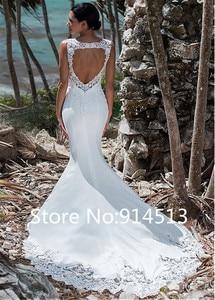 Image 2 - Sexy Mermaid Wedding Dress Sleeveless Lace Appliqued Illusion Back Boho Wedding Gown Long Train Backless Bride Dress