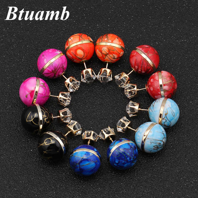 Btuamb New Maxi Double Sides Big Ball Pearl Earrings Stripe Printing Crown Crystal Stud Earrings for Women Statement Jewelry