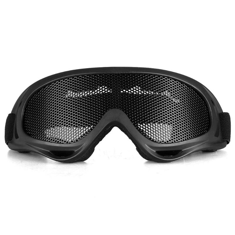 Tactical Glasses Motorcycle Airsoft Anti Fog Metal Mesh Big Goggles Eye Safety Protection Glasses Black gafas