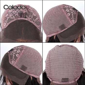COLODO ペルーストレートレースフロントウィッググルーレス 13 × 6 人毛レースのかつら女性 150% 密度事前摘み取らナチュラルヘアライン
