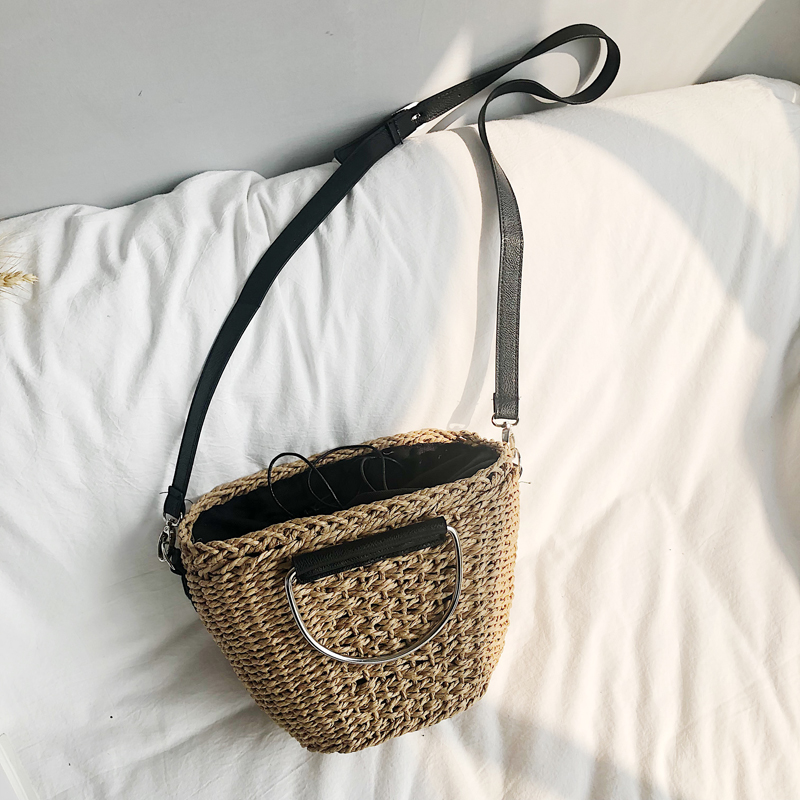 2019 new cross hand-woven women's art bag single-shoulder bag women's handbag multi-functional beach bag holiday bag