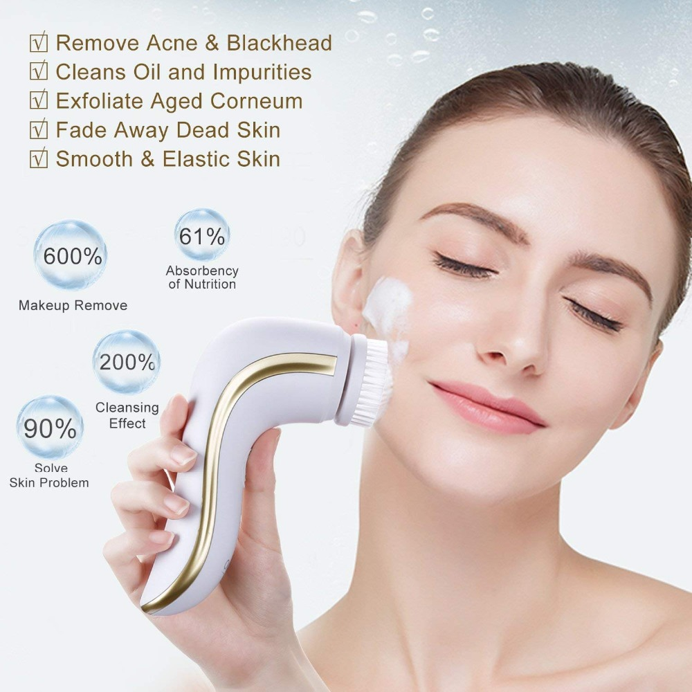 OKACHI GLIYA cepillo de limpieza Facial eléctrico limpieza profunda poros limpiador Facial herramienta de belleza resistente al agua USB recargable de oro - 3