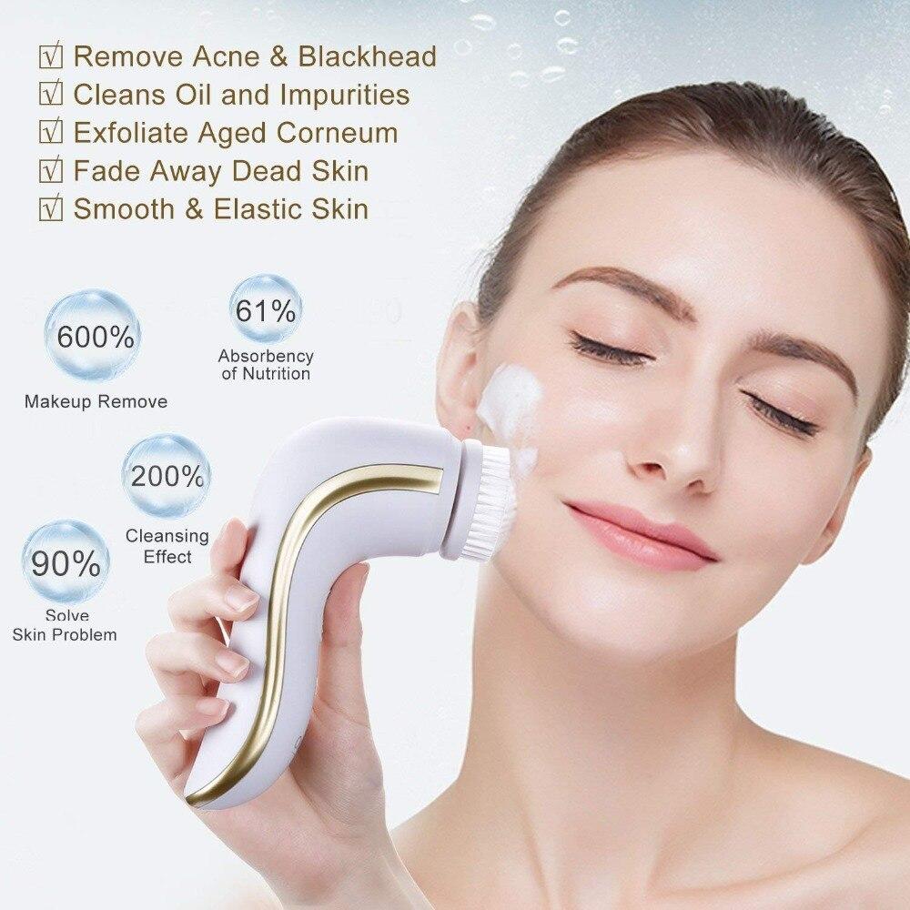 Image 3 - Электрическая Очищающая щетка OKACHI GLIYA для лица, глубокое очищение пор, очиститель для лица, инструмент для красоты, водонепроницаемый, USB, перезаряжаемый, золотистый-in Электроустройства для чистки лица from Бытовая техника