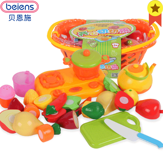 Beiens Kids Kitchen Vegetables And Fruits Toys Plastic Fruit Baskets 14pcs Children Food Cooking Toy