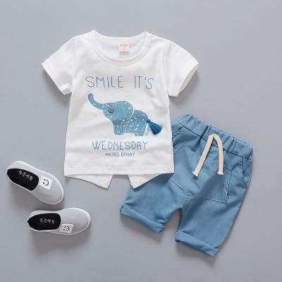 9fbe713db55ff Bébé fille vêtements bébé garçon vêtements ensemble motif éléphant à  manches courtes t-shirts +