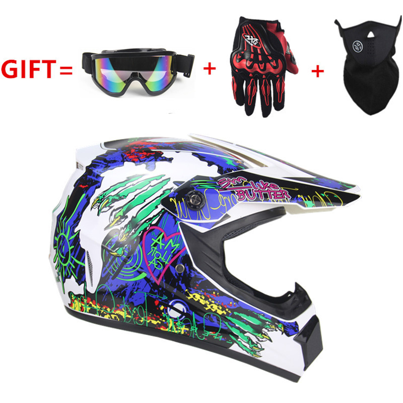 Mountain Bike Crash Helmet Unisex Cool Four Seasons Dirt Bike Helmet Motocross Helmet Include Goggles Gloves Mask