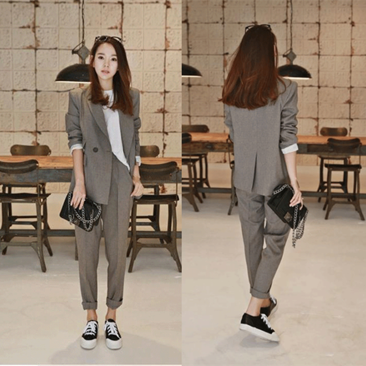 2019 New Business Pant Suits High Quality Set Blazers Formal Women OL Elegant Plaid 2 Piece Sets Uniform Jackets Set
