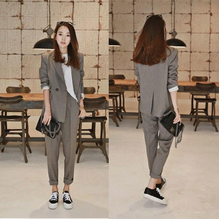 2019 New Business Pant Suits High Quality Set Blazers Formal Women OL Elegant Plaid 2 Piece Sets Uniform Jackets Set