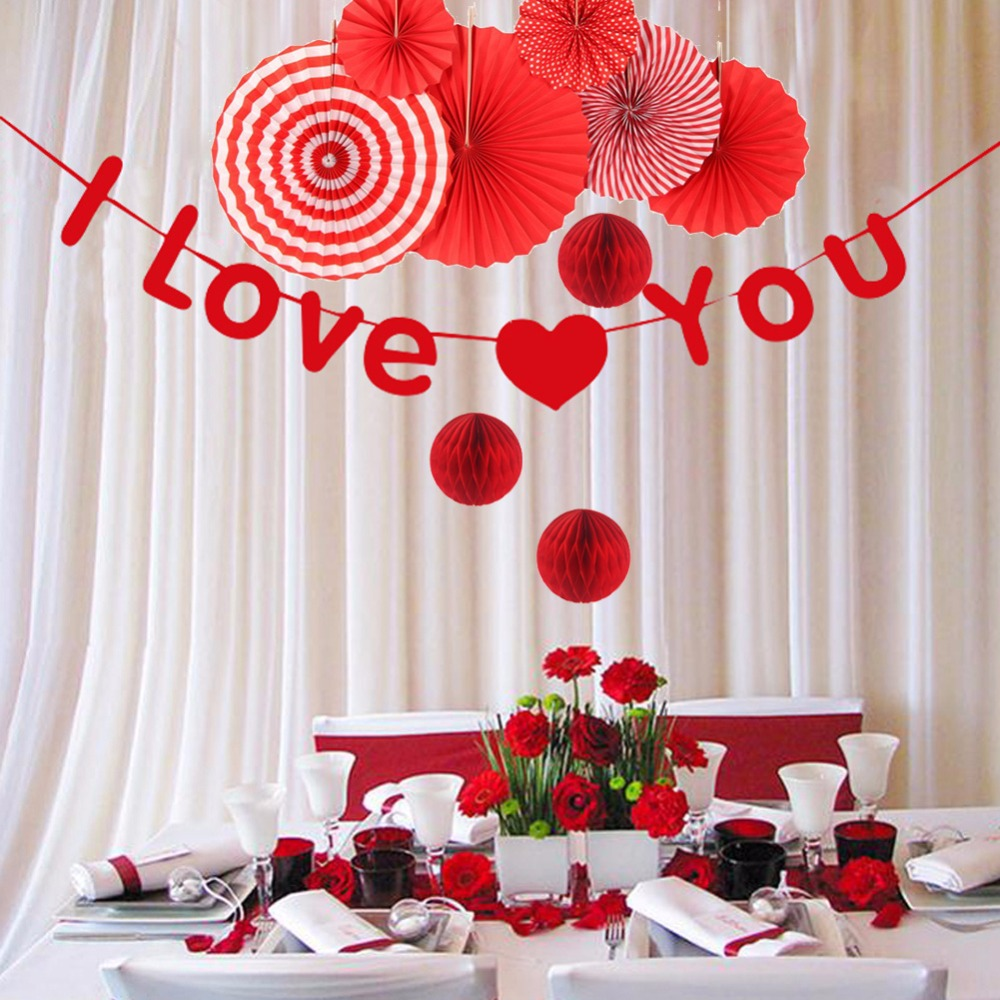I LOVE U Red wedding shower decorations Tissue Paper Paper Fans Party Home Decorations Bridal Shower Decoration in Party DIY Decorations from Home Garden