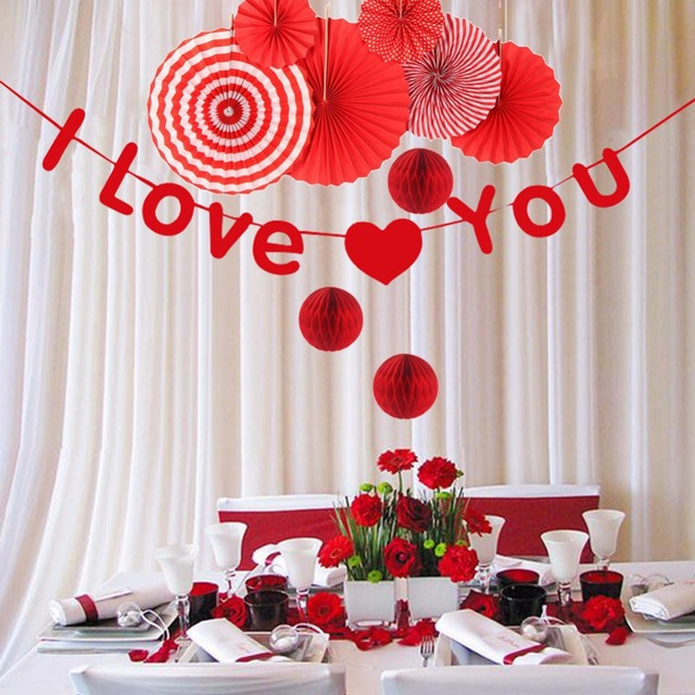 i love u red wedding shower decorations tissue paper paper fans party home decorations bridal shower