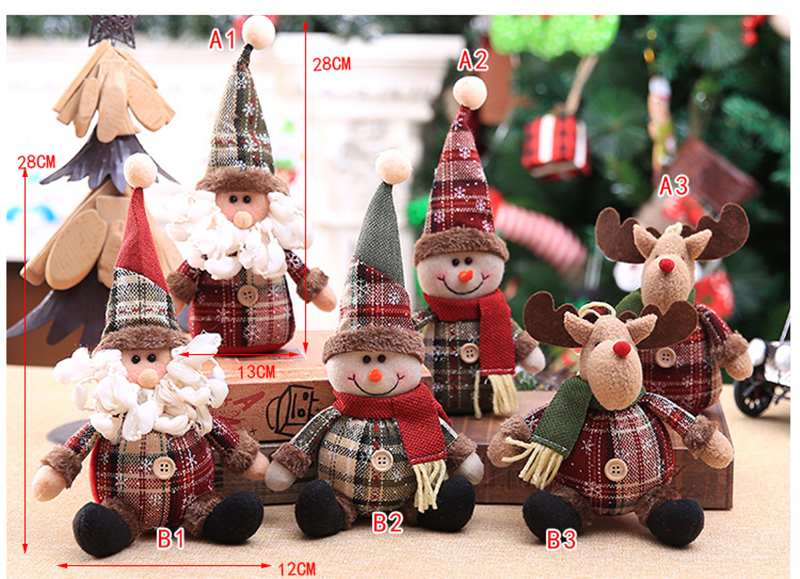 2019 Merry Christmas Tree Ornaments Christmas Decorations for Home New Year gift Children Snowflake Elk Plaid Doll Hanging Natal (10)