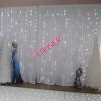 Свадебные фоне освещенной занавес 3X6 метра Дешевые Роскошные свадебные фон с светодиодные фонари белый гирляндой занавес фон