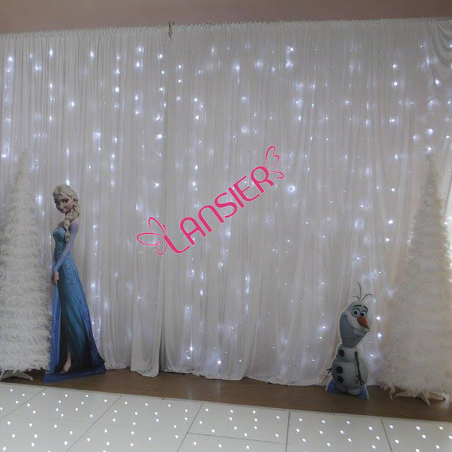 Wedding Backdrop Lighted Curtain 3 X 6 Meter Luxury With Led Lights White Fairy