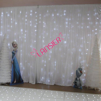 Wedding backdrop lighted curtain 3 x 6 meter cheap luxury wedding backdrop with led lights white fairy lights curtain backdrop