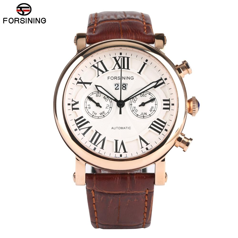 Automatic Mechanical Watches for Men Business Leather Band Watch for Teenagers Fashion Calendar Watch Mechanical for Boy in Mechanical Watches from Watches