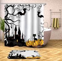 Bathroom Shower Curtain Halloween Bat Pumpkin Lantern Waterproof Bath Curtains for Bathtub Bathing Cover Large Wide 12pcs Hooks