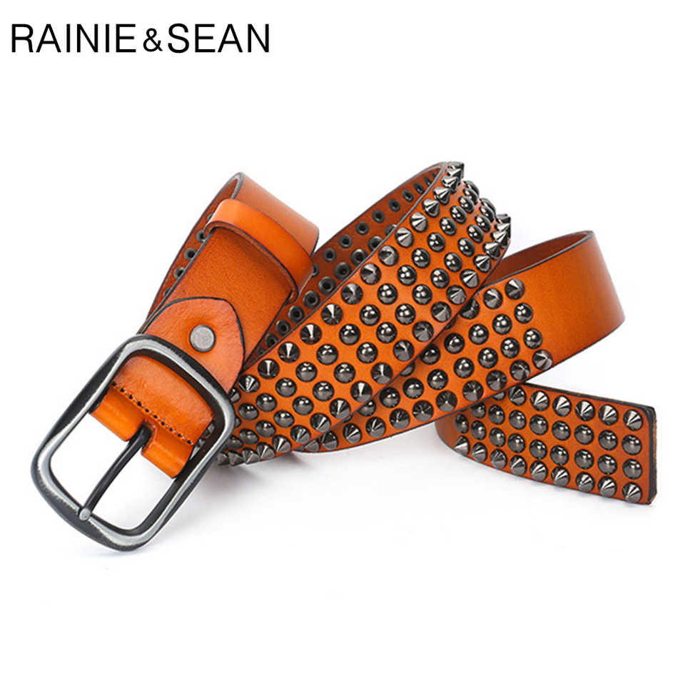 RAINIE SEAN tasarımcı marka kemer erkekler perçin gerçek deri kemer tokası dili erkek siyah kaya hakiki deri inek derisi lüks Punk kemer kot