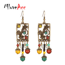 Фотография MloveAcc Vintage Flower Pattern Drop Earrings for Women Tibetan Natural Stone Beads Tassel Bohemian Ethnic Dangle Earrings