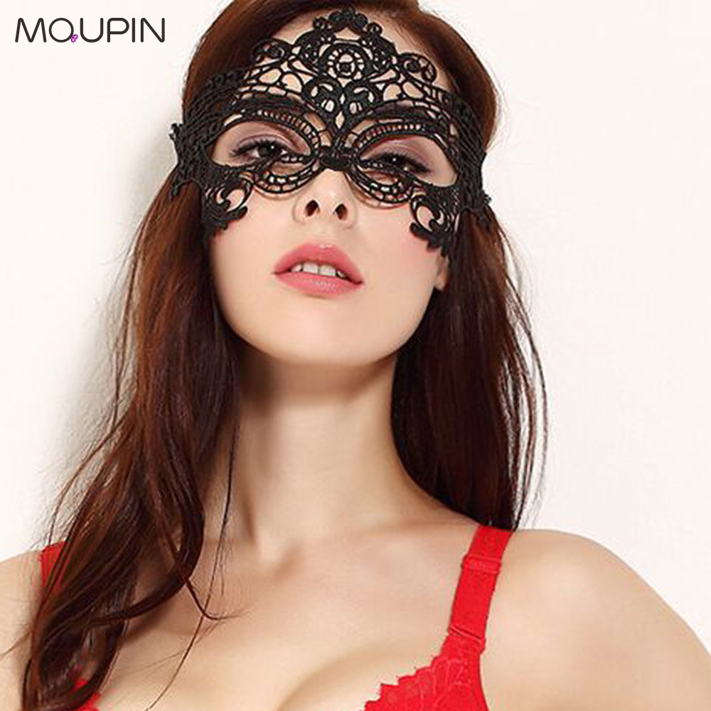 MQUPIN Sexy Erotic Easter Party Ball Black Lace Gothic Wind Mask Sexy Ball Lace Mask Cosplay Sexy Exotic Lingerie Accessories