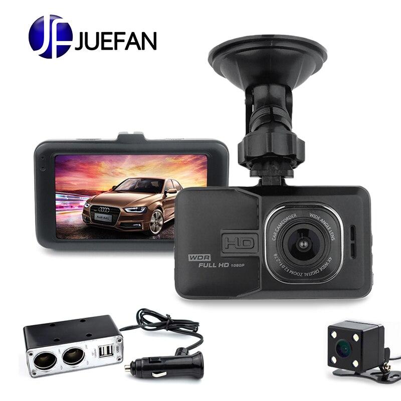 JUEFAN SD18 DVRS Carro 170 Graus de Ângulo de Câmera Do Carro DVR Full HD 1080 p Dual Lens Gravador de Vídeo Russo Idioma traço Cam