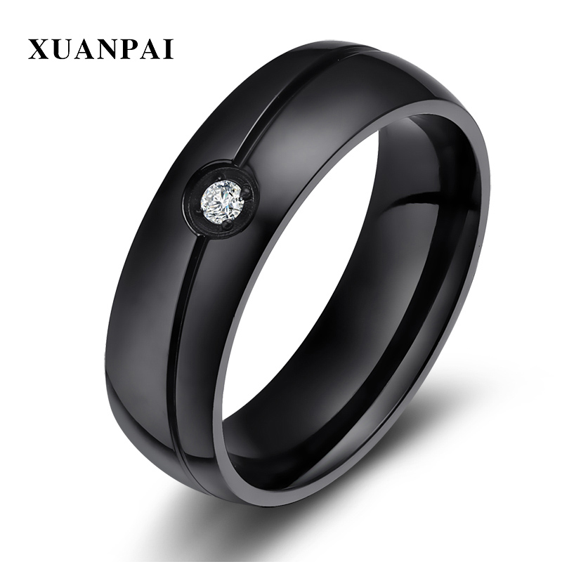 XUANPAI Men's Black Wedding Bands Ring Simple Stainless