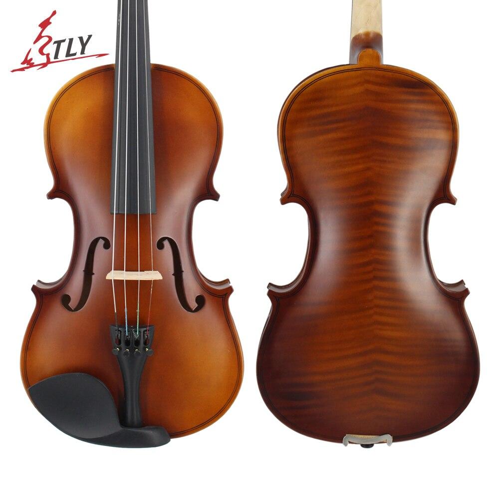 TONGLING матовая отделка цельная деревянная скрипка 4/4 3/4 1/4 1/8 ремесло полосы Violino для детей студентов начинающих случае Mute тетива для лука