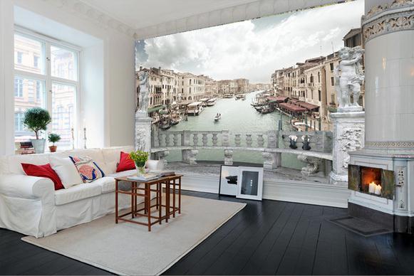 Non tessuto carta da parati 3d marmo balcone paesaggio for Carta parati in 3d