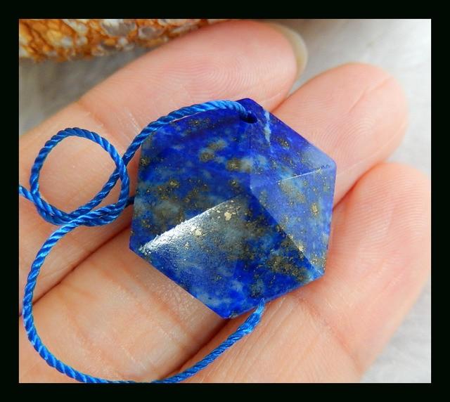 Natural Stone Faceted Lapis Lazuli Necklace Pendant,20*20*8mm,4.5g semiprecious stone faceted necklace lapis lazuli  pendant