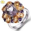 Hutang 5.72ct Ametrine & Citrino Naturais Rosa Sólida 925 Anel de Prata Esterlina Gemstone Fine Jewelry Melhor Presente Para mulheres