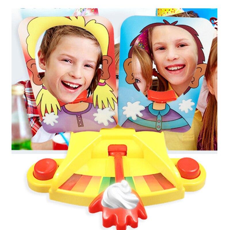 Nouveauté aventure Joker temps drôle jeu punition crème gâteau visage Hit jouer Double visage jouet canon forme enfant intérieur jeu