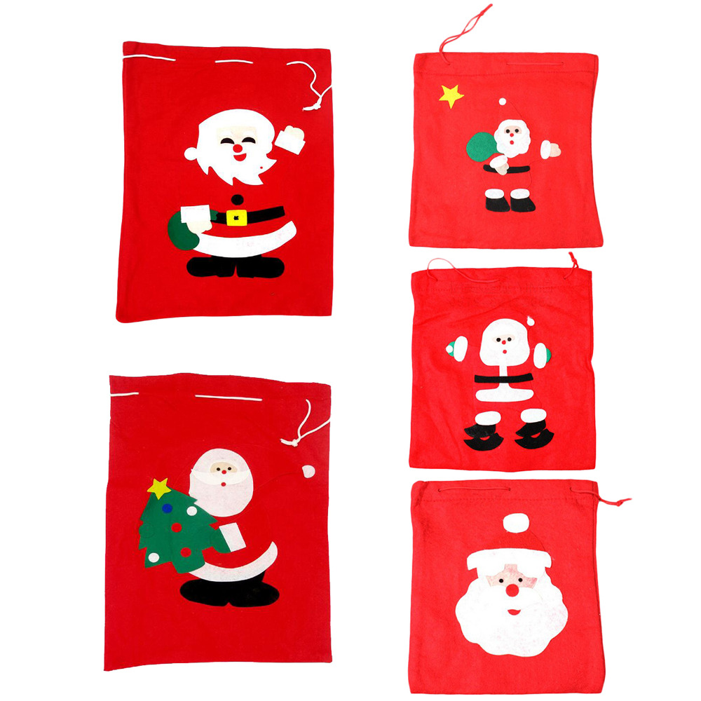 New Year Christmas Gift Bags Santa Claus Father Pouches Holiday Xmas Christmas Home Decoration Supplies Presents Candy Wine Bags